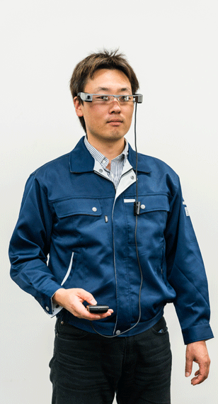 epson engineer wearing high resolution glass manufactured by Protolabs using CNC machining